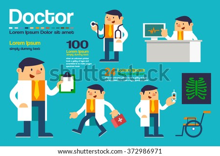 Vector Illustration Various Action Doctor, Character Posing Design, Healthcare and Medical Concepts. - stock vector
