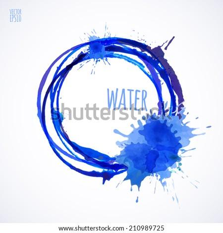Vector illustration. Vector EPS10. Blue watercolor splashes. Water - stock vector