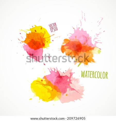 Vector illustration. Vector EPS10. Colorful watercolor splashes isolated on white background - stock vector