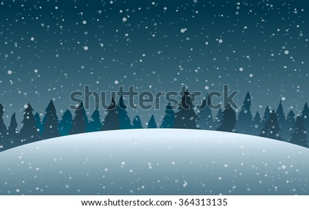 Vector illustration. Vector illustration. Snowdrifts on the background of trees and falling snow.