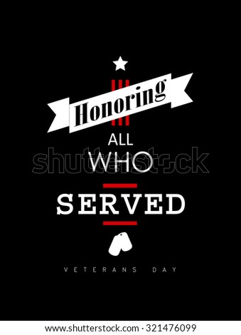 Vector illustration - Veterans day banner design over a black background - stock vector