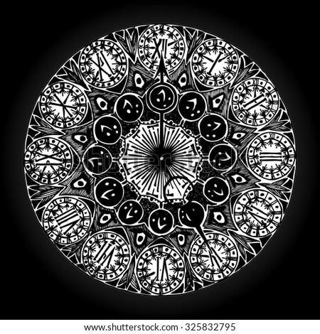 Vector illustration, vintage clock in grey tones, card concept. - stock vector