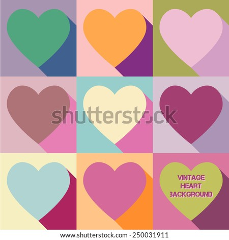 Vector illustration: vintage pop art background with flat varicolored hearts  - stock vector