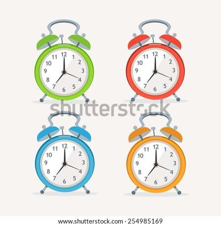 Vector illustration wakeup clocks set isolated on white background. Flat Design - stock vector