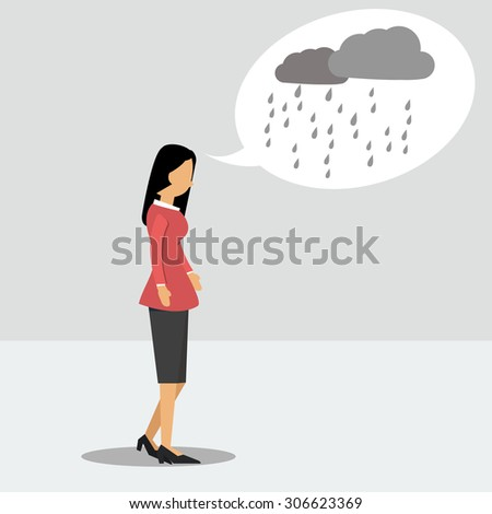 Vector illustration. Walking woman in depression with a rainy thoughts - stock vector
