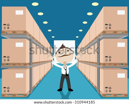 Vector illustration. Warehouse with boxes. - stock vector