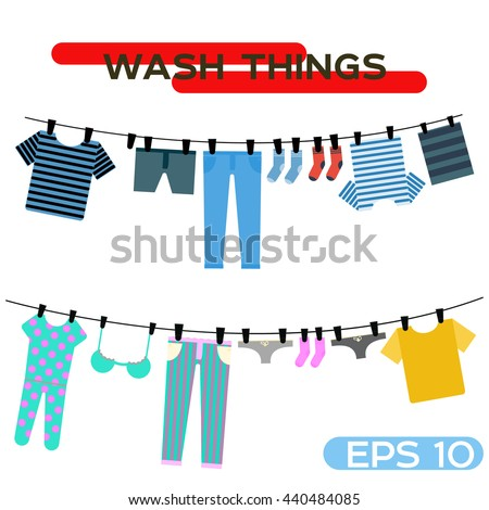 Clothes Drying On a Line Shirts Clip Art