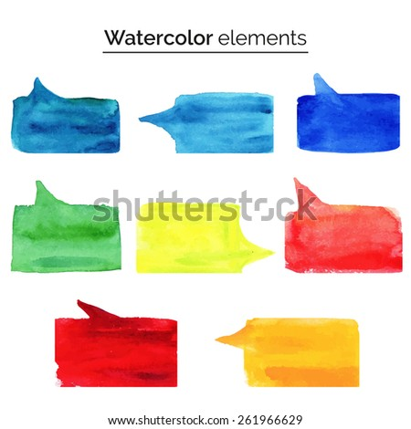 Vector illustration. Watercolor design elements. Colorful isolated aquarelle template for speech. Blank speech bubble dialog square shape on white background. Empty copy-space for your text or signs. - stock vector