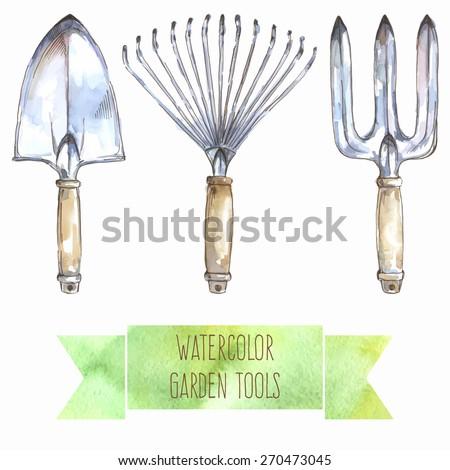 Vector illustration: watercolor garden tools - garden wire-leaf rake, garden trowel, garden fork - stock vector