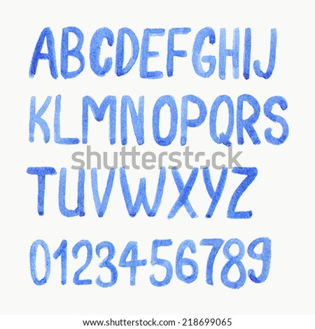 Vector illustration. Watercolor or aquarelle blue font. Handdrawn alphabet with numbers.  - stock vector