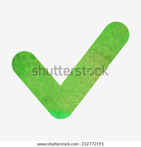 Vector illustration. Watercolor or aquarelle check or agree sign. Hand drawn green icon isolated on white background. - stock vector