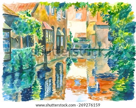 Vector illustration. Watercolor painting of typical canal view in Bruges en Belgium. Tourist place. - stock vector