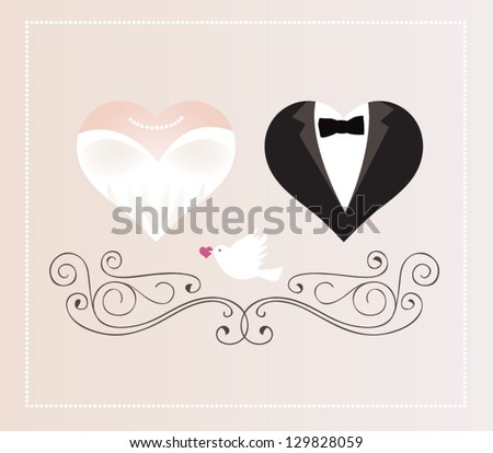 Vector illustration. Wedding invitation card. - stock vector
