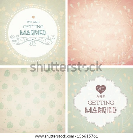 Vector illustration. Wedding invitation card. Seamless pattern can be used for wallpaper, web page background, pattern fills, surface textures... - stock vector