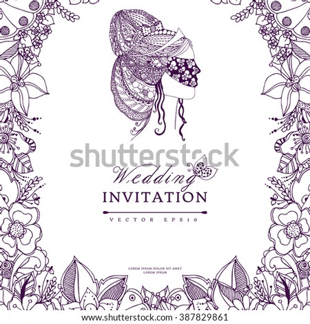 Vector illustration wedding invitation zentangl, frame flower, icon, portrait of a woman, a girl in a mask, doodle, zenart. Purple. Adult coloring books. - stock vector