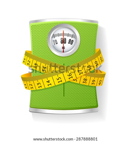 Vector Illustration Weights and tape measure. The concept of weight loss and health care   - stock vector