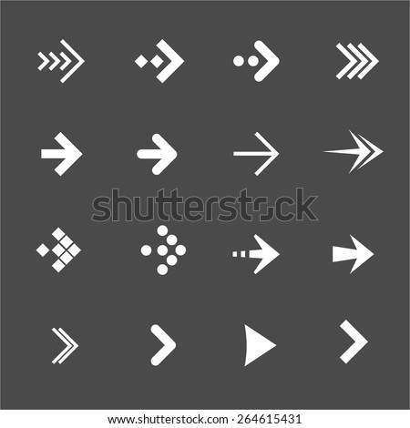 Vector illustration white arrows set on a black background. Flat Design - stock vector