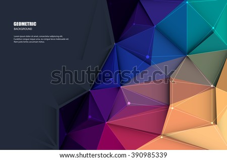 Vector illustration white paper (blank space for your content) on Abstract 3D Geometric, Polygonal, Triangle pattern shape and multicolored,blue, purple, yellow and green background - stock vector
