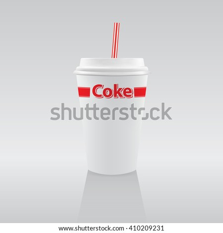 Vector illustration: White paper cup of soda - stock vector
