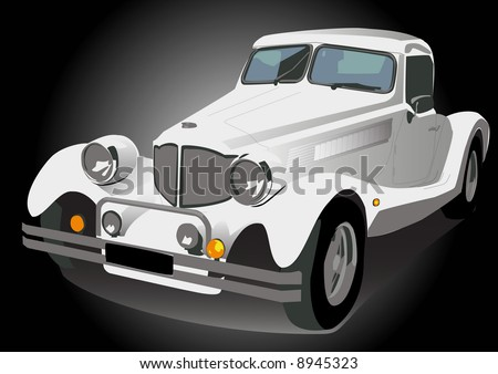 Vector illustration white vintage retro car isolated