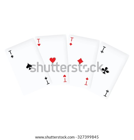 Vector illustration winning poker hand of four aces playing cards suits