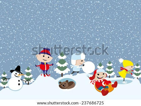 Vector illustration. Winter. - stock vector