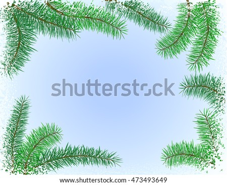 vector illustration winter and christmas background with frozen pattern and christmas tree branches