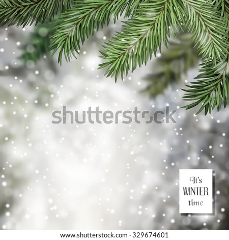 Vector illustration. Winter composition with snow background, snowfall and fir tree.