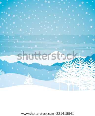 Vector illustration Winter landscape with mountains and trees