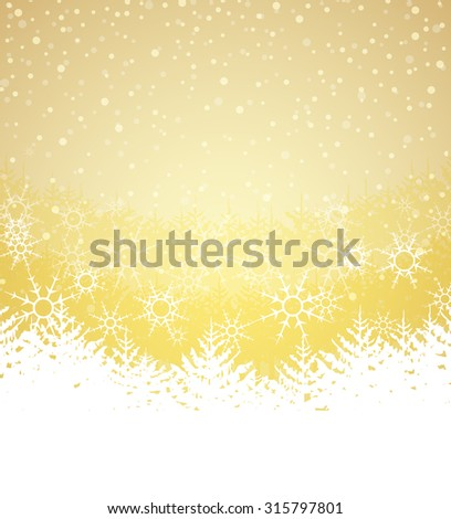 Vector illustration Winter landscape with trees and snow - stock vector