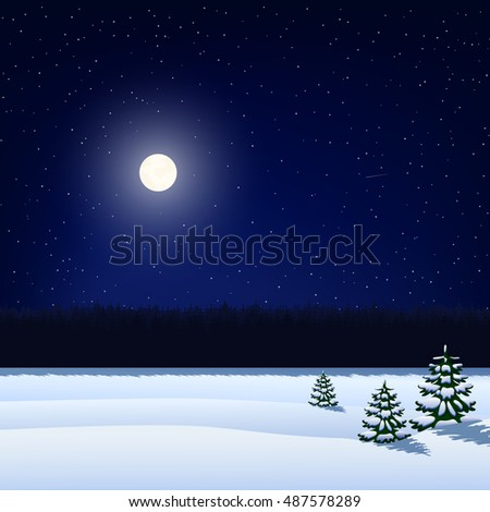 vector illustration. Winter night background. The sky with stars, the moon, the snow-covered field with Christmas trees and forest