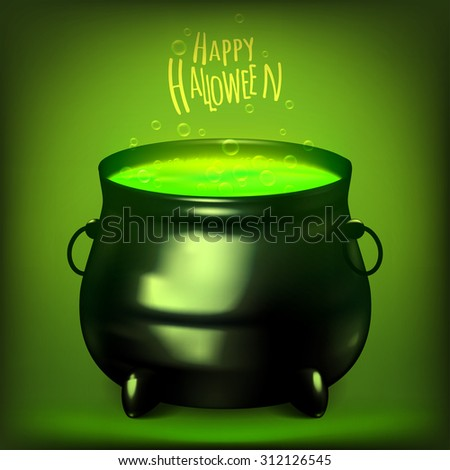 Vector illustration witches cauldron. Potion and magic. Acidic color potions. EPS 10