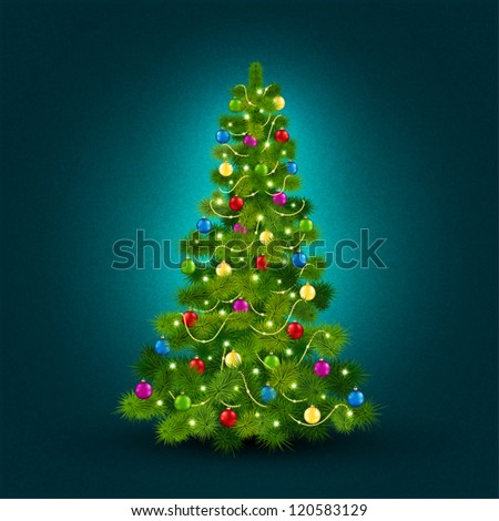 Vector illustration with a beautiful Christmas tree - stock vector