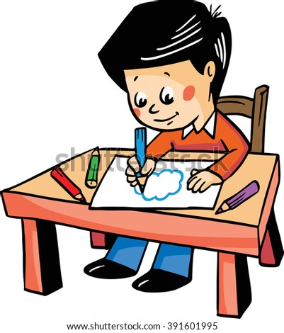 Vector illustration with a boy drawing at the table