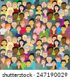 Vector illustration with  a crowd of people of different ages, races and nationalities on blue sky background. Joyful men, women, grandparents, boys, girls in colorful clothes. - stock