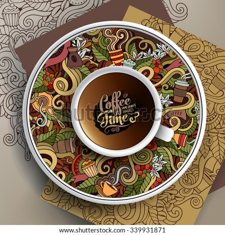 Vector illustration with a Cup and hand drawn Coffee doodles on a saucer and background - stock vector