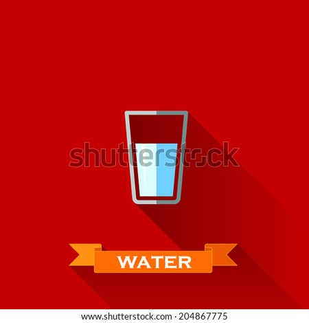 vector illustration with a glass of water in flat design style with long shadows  - stock vector