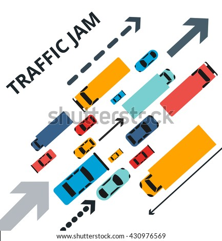 Vector illustration with a lot of cars trucks and arrows. Traffic jam, way
