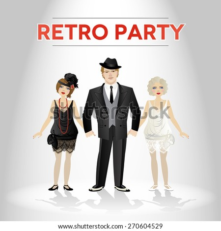 Vector illustration with a men and women dressed in retro style - stock vector