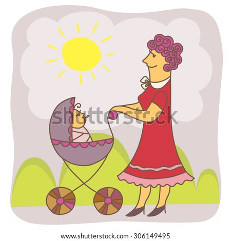 Vector illustration with a nanny and baby in stroller. - stock vector