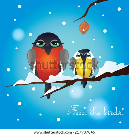 vector illustration with a picture of tit and bullfinch, vector illustration with the image of the hungry birds, postcard depicting birds - stock vector