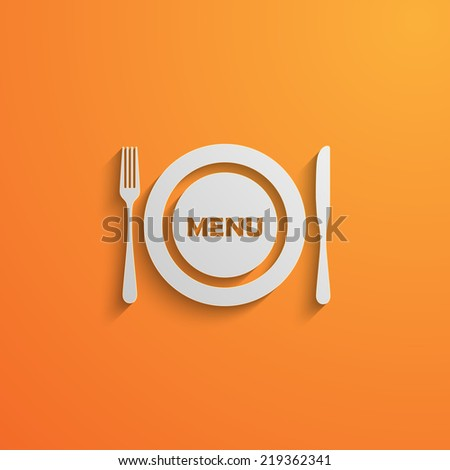 vector illustration with a plate and cutlery. 3d paper design style with long shadows. Lunch time concept  - stock vector