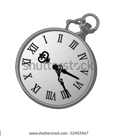 Vector illustration with a silver watch for your design - stock vector