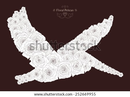 Vector illustration with abstract pelican. Silhouette of pelican, consisting of beautiful roses. Can be used as postcard, illustration  - stock vector