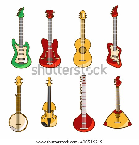 Vector illustration with acoustic and electric guitar