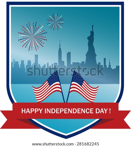 Vector Illustration with American Flag and City on  Background