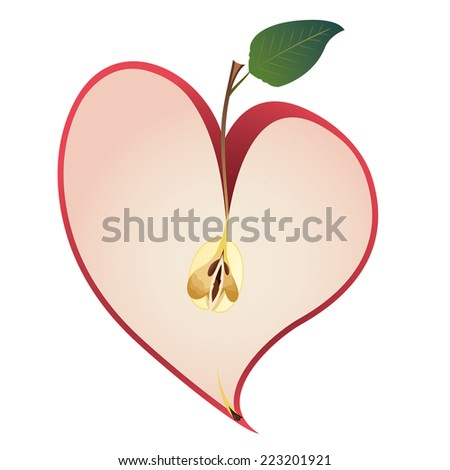 vector illustration with apple as a heart - stock vector