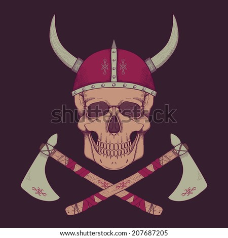 Vector illustration with axes and human skull wearing viking helmet - stock vector