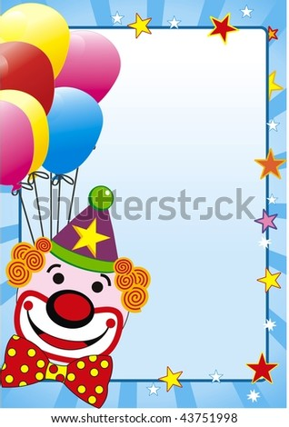 vector illustration with balloon and clown for party - stock vector