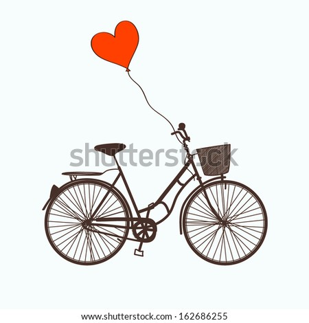 Vector illustration with bicycle and balloon - stock vector
